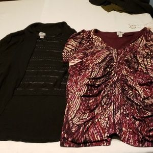 2 piece lot plus size 1x black shrug, and shirt